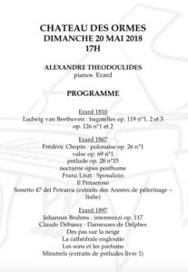 Programme concert dimanche 20 mai 2018