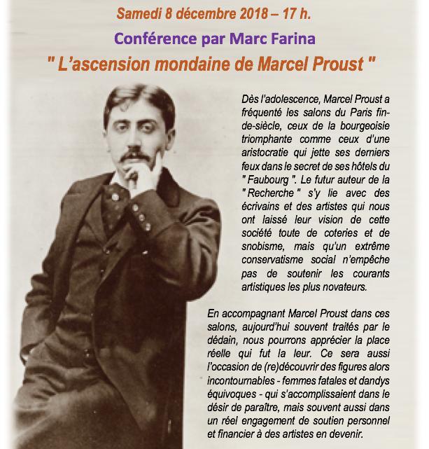 Conférence par Monsieur Marc FARINA le samedi 8 décembre